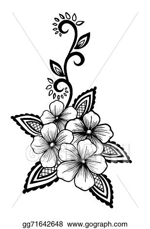 Eps illustration beautiful floral element black and white flowers beautiful floral element black and white flowers and leaves design element mightylinksfo