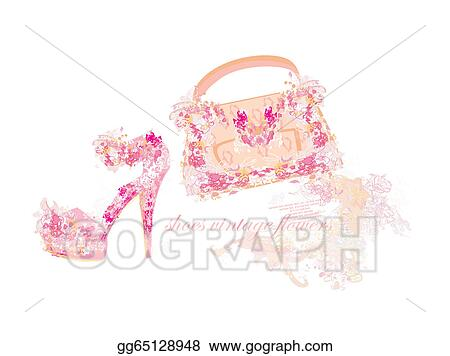 Eps Illustration Beautiful Floral Female Shoes And Bags Vector