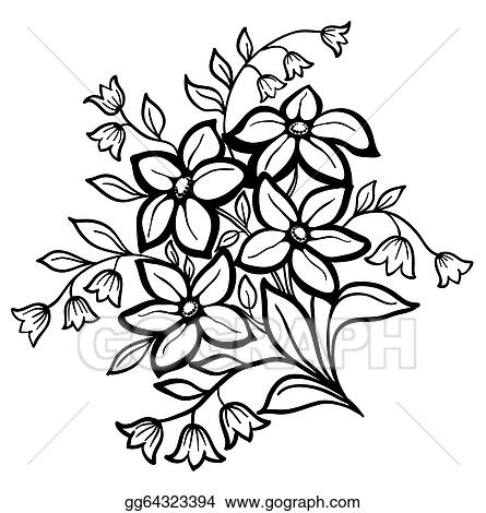 Vector Stock Beautiful Flower Arrangement A Black Outline On A