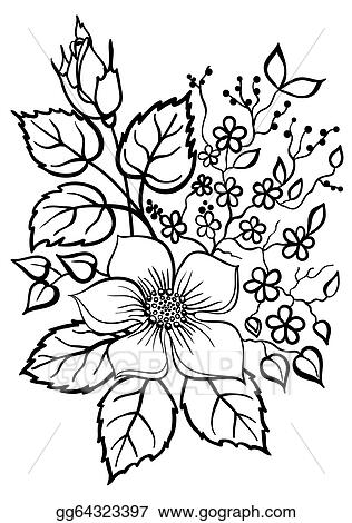 Vector stock beautiful flower arrangement a black outline on a beautiful flower arrangement a black outline on a white background mightylinksfo Gallery