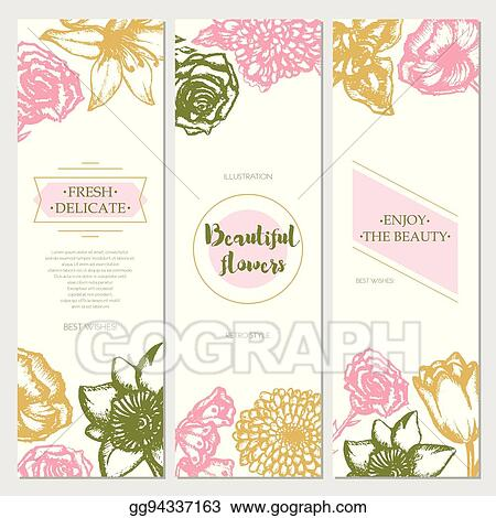 Vector Art Beautiful Flowers Color Hand Drawn Square Template