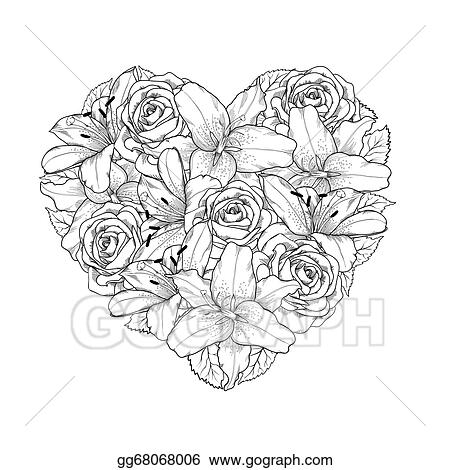 Vector Stock - Beautiful heart decorated by flowers, roses and ...