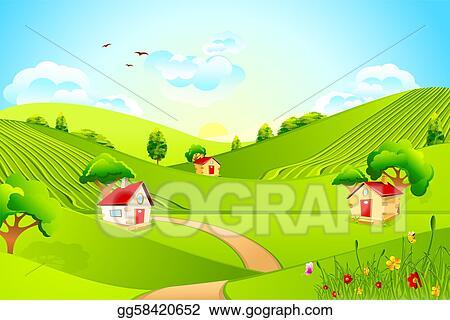 vector art beautiful landscape clipart drawing gg58420652 gograph rh gograph com grassland climate issues grassland climate issues