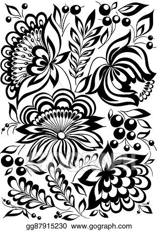 Vector Illustration Beautiful Monochrome Black And White Flowers