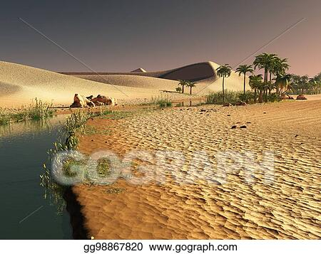 Stock Illustration Beautiful Natural Background African Oasis