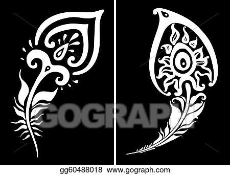 Line Art Feather : Vector art beautiful peacock feather illustration