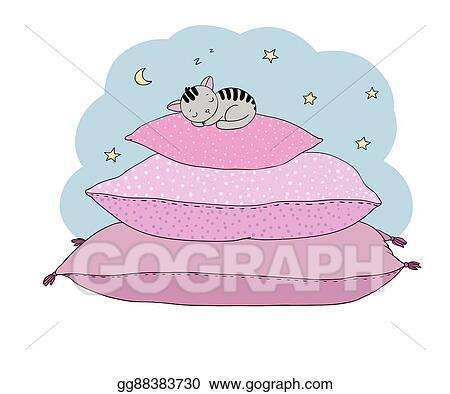 Vector Stock Beautiful Pillows And Cute Cat Clipart Illustration Gg88383730 Gograph