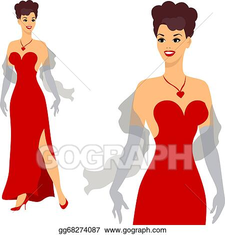 1dcc29fa2ec Vector Illustration - Beautiful pin up girl 1950s style. Stock Clip ...