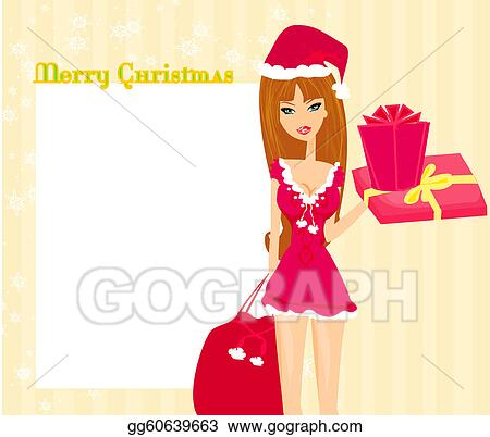 7115caed8ad5c Drawing - Beautiful pin-up girl in christmas . Clipart Drawing ...