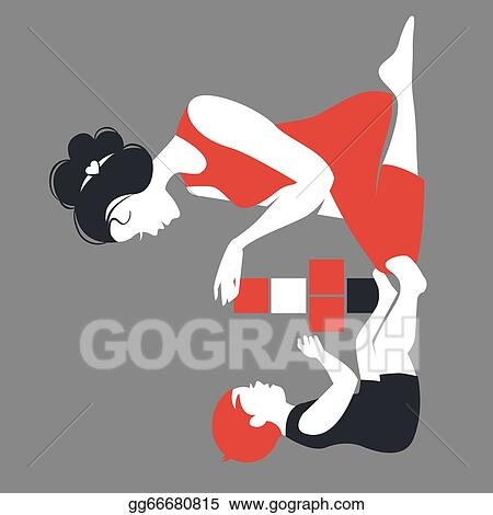 Vector Art Beautiful Silhouette Of Mother And Baby Playing With