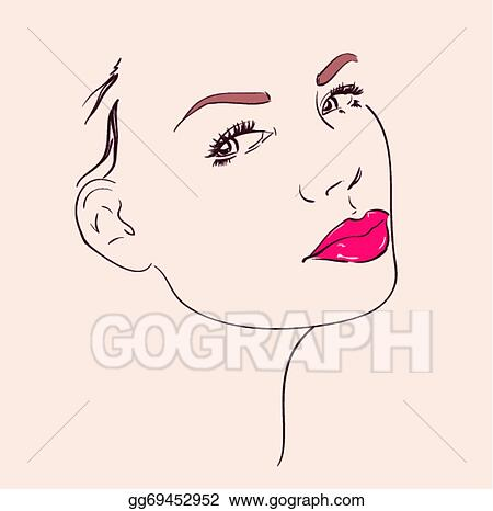 Vector Clipart - Beautiful woman face with pink lips make up