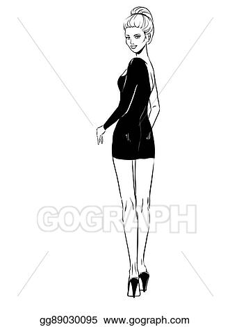 c8a2871268f7 Clipart - Beautiful woman in evening dress. Stock Illustration ...