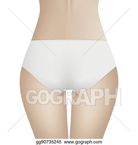 583dc79f74e Beautiful woman s body in white bikini panties. Realistic vector template  for design. Women health and intimate hygiene concept.