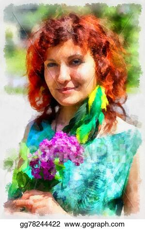Clipart Beautiful Woman With Flowers In Spring Sunshine