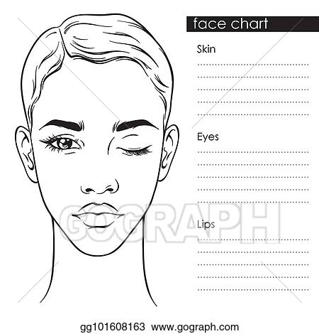 Vector Stock - Beautiful woman with short haircut face chart ...