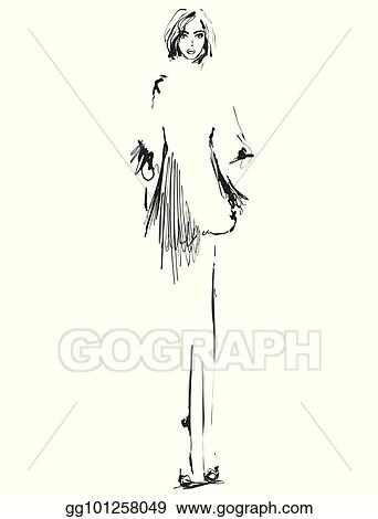 Vector Clipart Beautiful Young Girll For Design Fashion Model