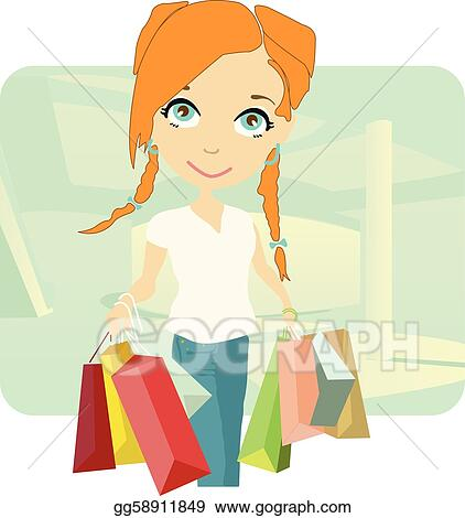 2267eed1d Vector Illustration - Beautiful young lady shopping . Stock Clip Art ...