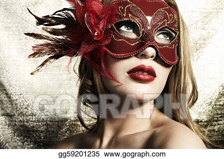 67b0dcd918418 Pictures - Beautiful young woman in a red mysterious venetian mask ...