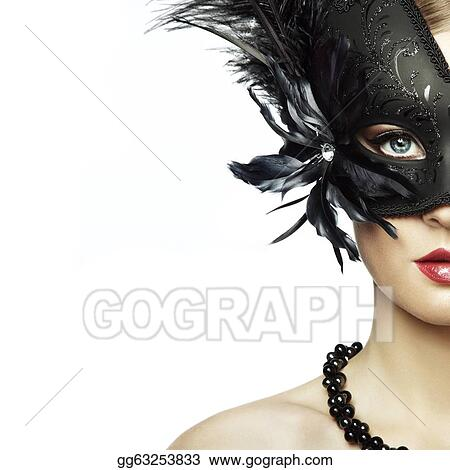 45d9d8c064750 Stock Photo - Beautiful young woman in black mysterious venetian ...
