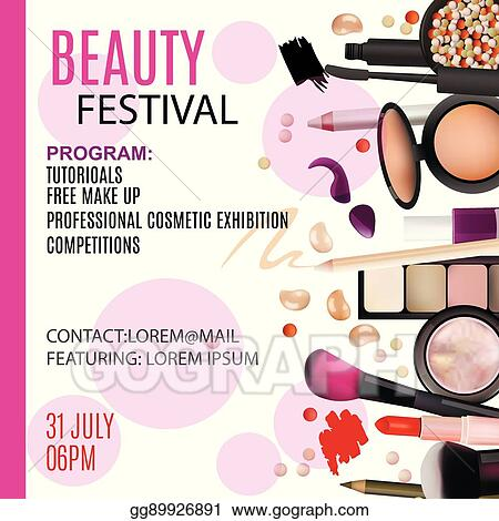 vector art beauty festival poster design cosmetic products