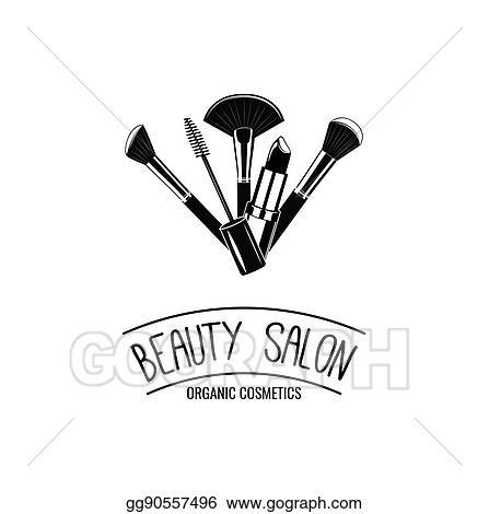 Vector Stock Beauty Salon Badge Makeup Brushes Logo Vector