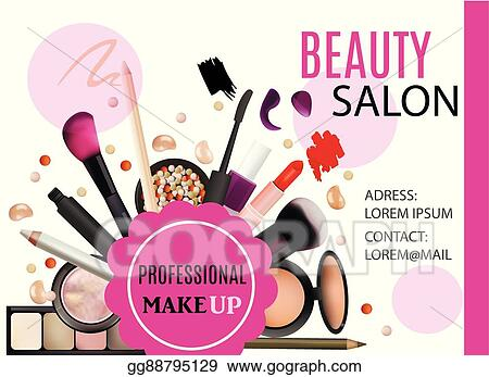Vector Illustration Beauty Salon Design Cosmetic Products Professional Make Up Care Printable Template For Business Banner Poster Voucher Booklet Eps Clipart Gg88795129 Gograph