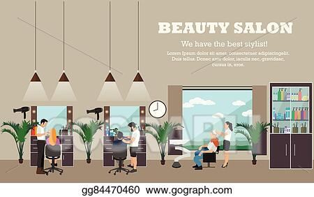 Vector Art Beauty Salon Interior Vector Concept Banners Hair Style Design Studio Women In Haircut Atelier Clipart Drawing Gg84470460 Gograph