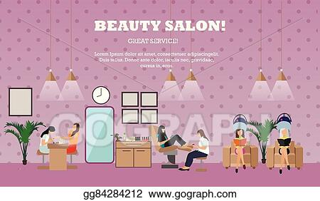 Vector Art Beauty Salon Interior Vector Concept Banners Women In Manicure And Make Up Design Studio Clipart Drawing Gg84284212 Gograph