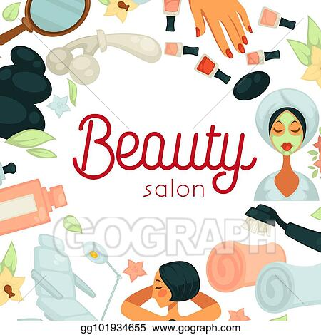 Eps Illustration Beauty Salon Promotiobal Poster With Equipment For Procedures Vector Clipart Gg101934655 Gograph
