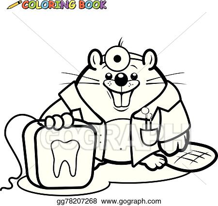 Vector Clipart - Beaver dentist coloring book page. Vector ...