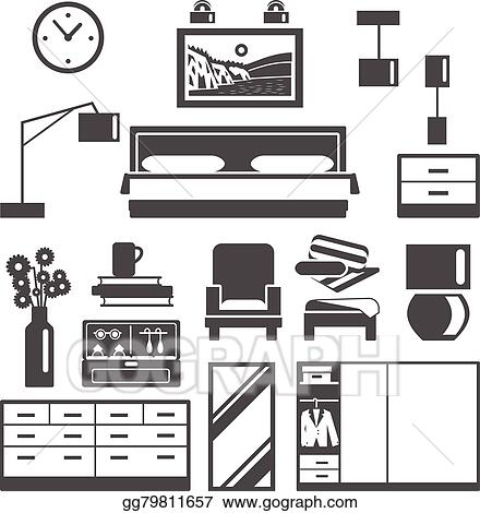 Eps Vector Bedroom Furniture Icons Set Stock Clipart Illustration