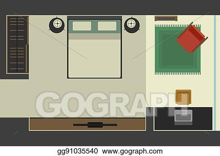 Eps Illustration Bedroom In Flat Style Top View Vector Clipart