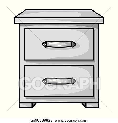 Bedside table clipart  Vector Illustration - Bedside table icon in monochrome style ...