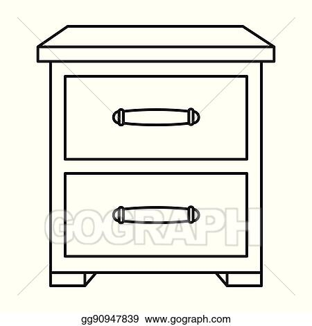 Bedside table clipart  Vector Illustration - Bedside table icon in outline style isolated ...