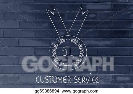 Stock Illustration Best Customer Service Gold Medal Symbol