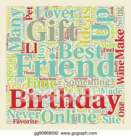 Vector Illustration Best Friend Birthday Gift Ideas Text
