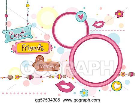 stock illustration bff frame clip art gg57534385 gograph rh gograph com Women Friends Clip Art Friends Keyhole Frame