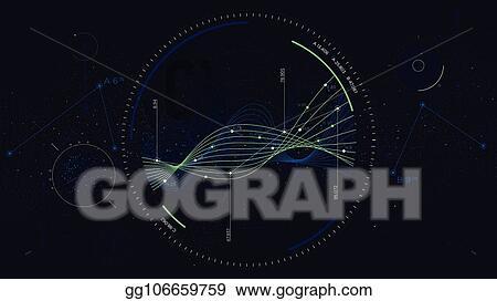 Clip Art Vector - Big data network visualization, interface screen