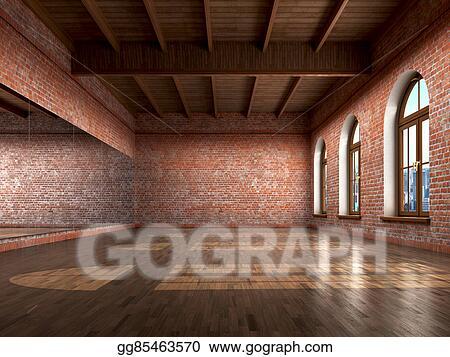 Drawing Big Empty Room In Grange Style With Wooden Floor Bricks