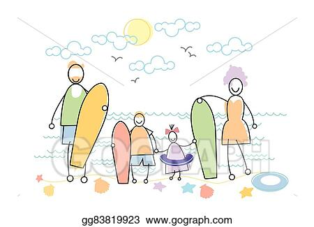 Family Holiday Sea Seaside Holding Windsurfing Boards