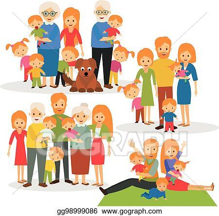 Vector Stock Big Family Clipart Illustration Gg98999086 Gograph