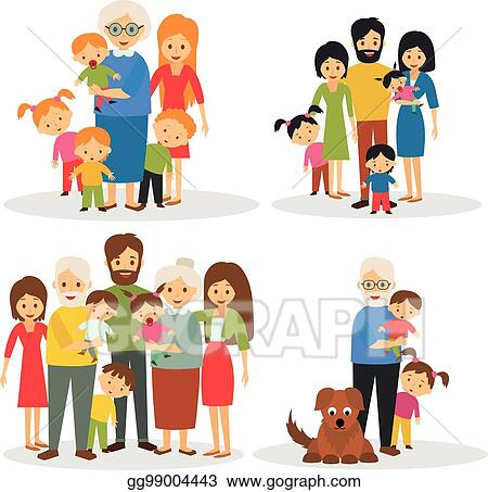 vector stock big family clipart illustration gg99004443 gograph rh gograph com big indian family clipart big family tree clipart