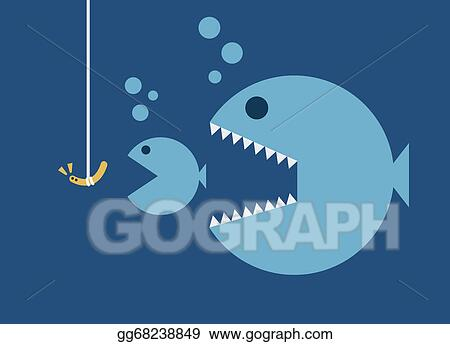 Vector Clipart Big Fish Eat Little Fish Hook And Worm Bait