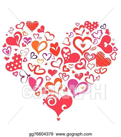 Eps Vector Big Heart Made Of Many Differnt Heart Symbols Stock
