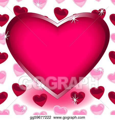 Vector Stock - Big heart over seamless heart shape pattern. Clipart ...