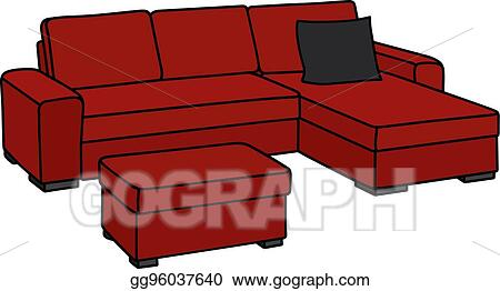 Eps Illustration Big Red Couch Vector Clipart Gg96037640 Gograph