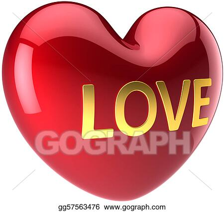 Clip Art Big Red Heart In Love Stock Illustration Gg57563476