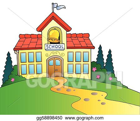 eps vector big school building stock clipart illustration rh gograph com school building clip art my school building clipart