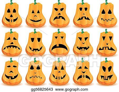 vector illustration big set of 15 halloween pumpkins with mouths