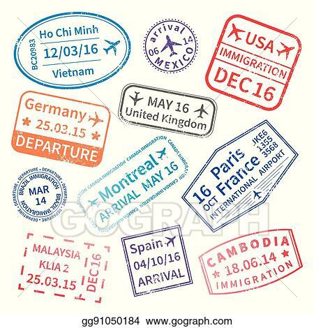 Big Set Of International Travel Visa Stamps On White
